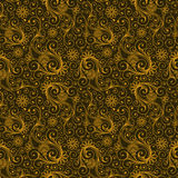 Yellow and Brown Colors Art Nouveau Style Plant Pattern design. Royalty Free Stock Photo