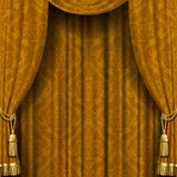 Yellow-brown curtain Stock Image