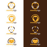 Yellow and Brown head Monkey logo vector set design Royalty Free Stock Photography