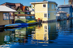 Yellow Brown Houseboats Victoria Canada Stock Image