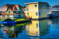 Yellow Brown Houseboats Victoria Canada Stock Photos