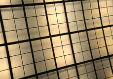 Yellow and Brown Illuminated Ceiling. With rectangular cells Stock Photo