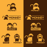 Yellow and Brown Monkey logo vector set design Royalty Free Stock Photos