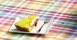 Yellow and Brown Pastry on White Saucer Royalty Free Stock Photography