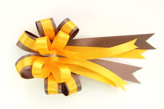 Yellow and brown ribbin bow on white background Royalty Free Stock Image