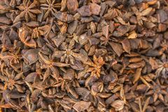 Yellow brown spice Badian with a blurred background. natural surface texture. A yellow brown spice Badian with a blurred background. natural surface texture royalty free stock images