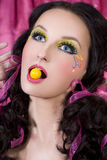 Yellow bubble gum Royalty Free Stock Images