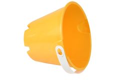 Yellow bucket 3. Isolated typical yellow plastic bucket Stock Photos