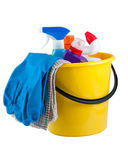 Yellow bucket with cleaning supplies Royalty Free Stock Photo