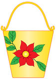 Yellow bucket with flower pattern Royalty Free Stock Photos
