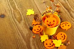 Yellow bucket with Halloween and writing space Royalty Free Stock Images