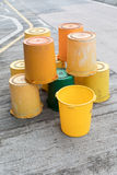 Yellow Buckets at Street Royalty Free Stock Images