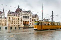 Yellow Budapest tram Stock Photos