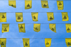 Yellow buddha flag Royalty Free Stock Photography