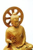 Yellow Buddha image on white background Royalty Free Stock Photography
