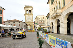 A yellow Bugatti T40. ESTE (PD), ITALY - MAY 16: A yellow Bugatti T40 takes part to the 1000 Miglia classic car race on May 16, 2014 in Este. The car was built Royalty Free Stock Photos