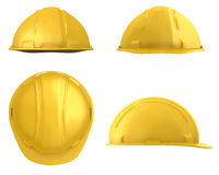 Yellow builder's helmet four views Stock Image
