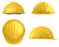Yellow builder's helmet four views Stock Image