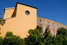 Yellow building with ancient city walls in Padua in Veneto (Italy) Stock Photos