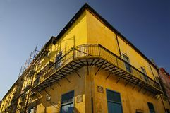 Yellow building facade in Old Havana Stock Images