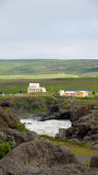 Yellow building at Godafoss waterfall in Iceland Stock Photo