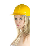 Yellow building helmet Stock Photo