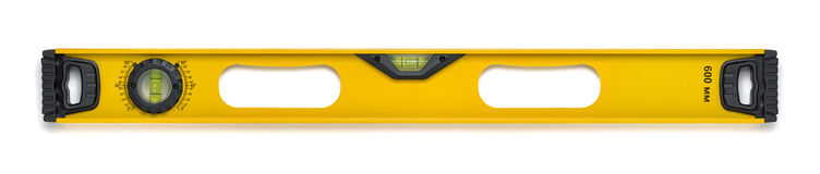 Yellow building level with liquid indicator. Measuring instrument. Used for measuring at building and reconstruction. Cut-out object Stock Photography