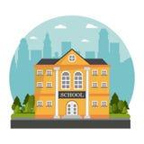 Yellow building school tree skyline design. Vector illustration stock illustration