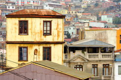 Yellow Building in Valparaiso Royalty Free Stock Photography