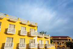Yellow Building, White Balconies Royalty Free Stock Photography