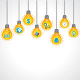 Yellow bulb background with business icons Stock Photos