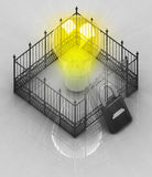 Yellow bulb light with padlock closed fence concept Stock Image