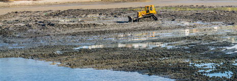 Yellow buldozer doing lake cleaning and maintenance services under municipality authority in spring time in a park Royalty Free Stock Image
