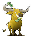 Yellow Bull as a Stock Market Player. Metaphoric Stock Market Bull with dollar bills royalty free illustration
