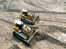 Free Yellow Bull Dozer Is Working In Coal Mine. Stock Images - 163359004