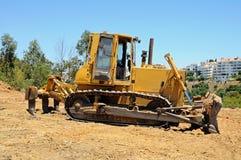 Yellow bulldozer, Andalusia, Spain. Stock Photos
