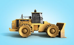 Yellow Bulldozer 3d render on blue background. Image Royalty Free Stock Image