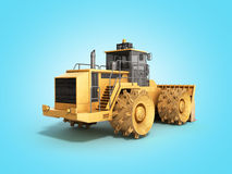 Yellow Bulldozer 3d render Isolated on blue Royalty Free Stock Photo