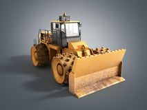 Yellow Bulldozer 3d render Isolated on grey Royalty Free Stock Photography