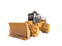 Yellow Bulldozer 3d render Isolated no shadow Royalty Free Stock Images