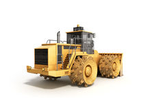 Yellow Bulldozer 3d render Isolated on white Stock Photography