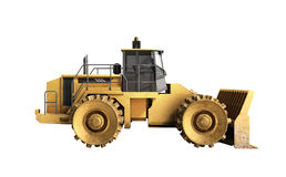 Yellow Bulldozer 3d render Isolated on white no shadow Royalty Free Stock Image