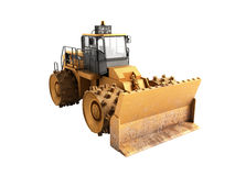Yellow Bulldozer 3d render Isolated on white no shadow Stock Photography