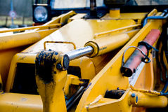 Yellow bulldozer detail. Closeup of the front of a yellow bulldozer royalty free stock photography