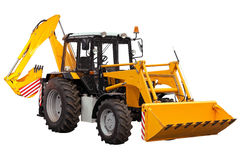 Yellow bulldozer-excavator Stock Images