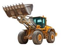 Yellow bulldozer isolated. Yellow excavator isolated over white Royalty Free Stock Photo