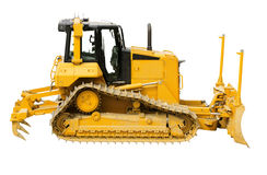 Yellow bulldozer, isolated on white Royalty Free Stock Image
