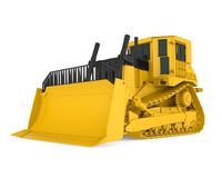Yellow Bulldozer Isolated. On white background. 3D render Stock Image
