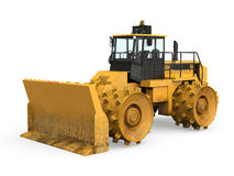Yellow Bulldozer Isolated. On white background. 3D render Royalty Free Stock Image