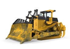 Yellow Bulldozer Isolated. On white background. 3D render Royalty Free Stock Photo